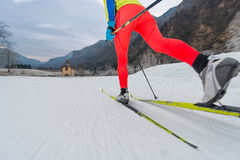 Particular of Cross-country skiing classic technique. Practiced by woman Stock Photography