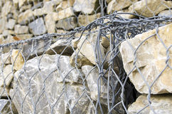 Particular fastening of a gabion wall Royalty Free Stock Photography