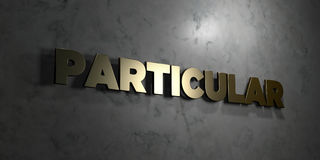 Particular - Gold text on black background - 3D rendered royalty free stock picture Royalty Free Stock Photo