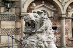 Particular of a lion statue stock image