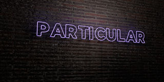 PARTICULAR -Realistic Neon Sign on Brick Wall background - 3D rendered royalty free stock image. Can be used for online banner ads and direct mailers Royalty Free Stock Photography