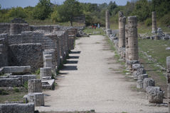 Particular road of the ruins of Paestum Stock Photo