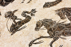 Particular of Roman mosaic in the thermal baths of Neptune in an Stock Image