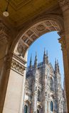 Particular view of famous Milan Cathedral Duomo di Milano, in Duomo Square, Italy. royalty free stock photography