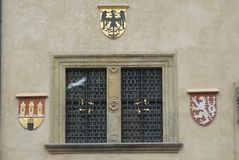 Particular window that is on the clock tower in Prague in Czech republic Stock Photo