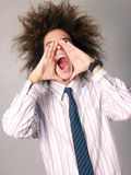 Particular young man screaming. Royalty Free Stock Photography