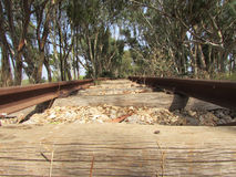 Particularly rail of an old abandoned railway Stock Images