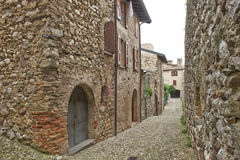 Particulars  of the Padenghe castle. Dwellings and roads inside the medieval Padenghe  castle, Garda lake  Italy Royalty Free Stock Image