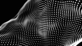 Particules blanches abstraites formant la texture abstraite sur le fond noir, boucle sans couture animation 3D a pointillé le mat illustration stock
