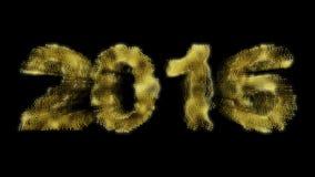 Particules brillantes de la nouvelle année 2016 sur le fond noir Images stock