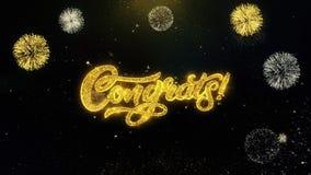 Particules d'or écrites par Congrats éclatant l'affichage de feux d'artifice illustration stock