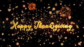 Particules d'abrégé sur thanksgiving et carte de voeux heureuses de feux d'artifice de scintillement illustration libre de droits