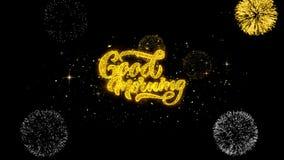 Particules d'or de clignotement des textes bonjour avec l'affichage d'or de feux d'artifice illustration stock