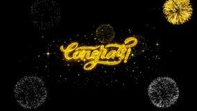 Particules d'or de clignotement des textes de Congrats avec l'affichage d'or de feux d'artifice illustration libre de droits