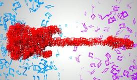 Particules 3D de note musicale de guitare électrique Illustration Stock