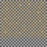 Particules d'or et étoiles de scintillement en baisse d'isolement sur le fond transparent Scintillements de confettis illustration libre de droits