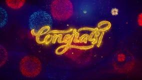 Particules de salutation d'étincelle des textes de Congrats sur les feux d'artifice colorés illustration de vecteur