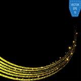 Particules de scintillement d'étoiles d'or de traînée éclatante de la poussière sur le fond noir Queue de comète de scintillement illustration libre de droits