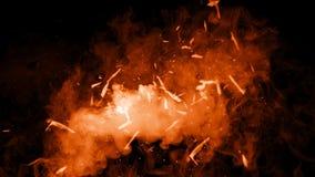 Particules du feu d'isolement sur le fond Fumez les recouvrements de texture de brume de brouillard images stock