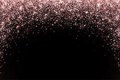 Particules en baisse d'or de Rose sur le fond noir, forme de voûte Vecteur illustration libre de droits