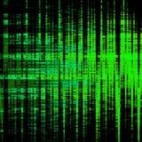 Particules rougeoyantes au n?on vertes sur le fond noir matrice Modulation d'amplitude illustration stock