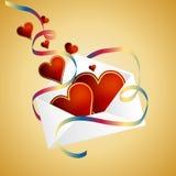 Partida da fita festiva dos corações do envelope ilustração stock