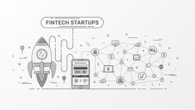 Partida de Fintech infographic Tecnologia financeira e investimento empresarial novo com tecnologia do blockchain ilustração stock