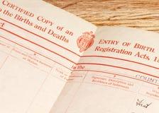 Partida de nacimiento británica Foto de archivo libre de regalías