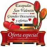 Partida española del día del ` s de la tarjeta del día de San Valentín Fotografía de archivo