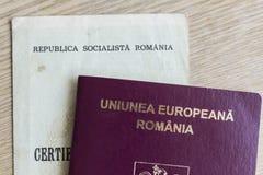 Partida rumana del pasaporte y de nacimiento Imágenes de archivo libres de regalías