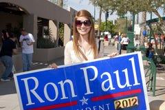 Partidario de Ron Paul en el discusión presidencial 2012 del GOP Fotografía de archivo libre de regalías