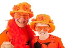 Partidarios anaranjados holandeses del fútbol fotos de archivo libres de regalías