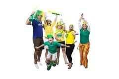 Partidarios brasileños que celebran Fotografía de archivo