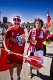 Partidarios daneses del fútbol - WC 2010 de la FIFA Imagenes de archivo