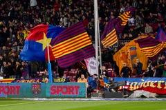 Partidarios de FC Barcelona imagen de archivo libre de regalías