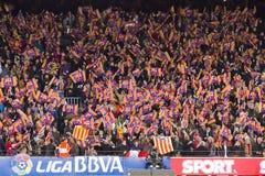 Partidarios de FC Barcelona fotografía de archivo libre de regalías