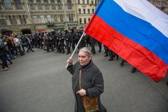 Partidarios de la oposición en la perspectiva de Nevsky Fotos de archivo libres de regalías