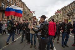 Partidarios de la oposición en la perspectiva de Nevsky Foto de archivo libre de regalías