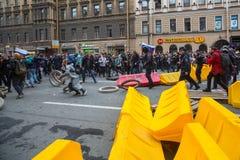 Partidarios de la oposición en la perspectiva de Nevsky Fotos de archivo
