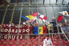 Partidarios de las personas de CFR Cluj en la acción Imagen de archivo