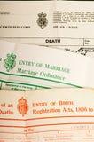 Partidas del nacimiento, de la boda y de defunción Fotografía de archivo