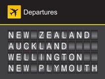 Partidas do aeroporto do alfabeto da aleta de Nova Zelândia, Nova Zelândia, Auckland, Wellington, Plymouth novo ilustração stock