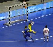 Partido amistoso Ucrania v España de Futsal Imagen de archivo libre de regalías