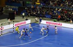 Partido amistoso Ucrania v España de Futsal Foto de archivo libre de regalías