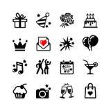 Partido, aniversário e celebração ajustados ícones Imagem de Stock