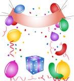 Partido - balões, confetti ilustração stock