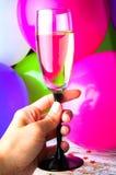 Partido con champán Nochevieja o cumpleaños Foto de archivo