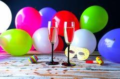 Partido con champán Nochevieja o cumpleaños Fotografía de archivo libre de regalías