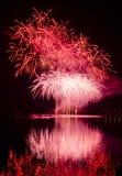 Partido con la demostración colorida de los fuegos artificiales Foto de archivo libre de regalías