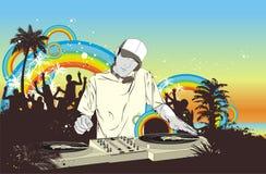 Partido con la muchedumbre y DJ Imagen de archivo libre de regalías